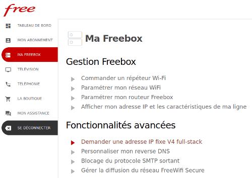 Free Adresse IP fixe V4 full-stack