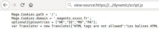 Fichier Script Magento